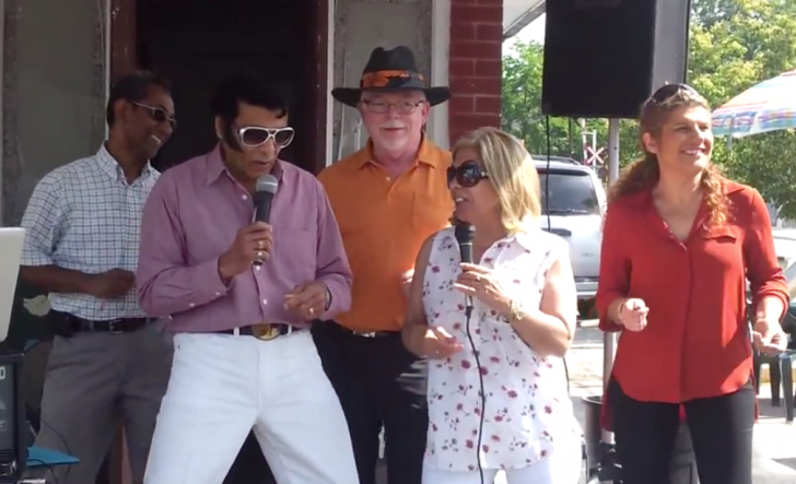 L to R, Masum Hossain BIA Chair, 'Elvis', Mike Sullivan, Frances Nunziata, Laura Albanese.