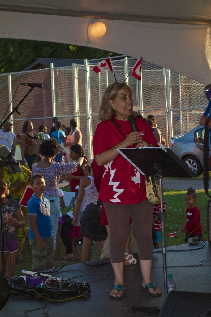 Councillor Frances Nunziata warms up the crowd.