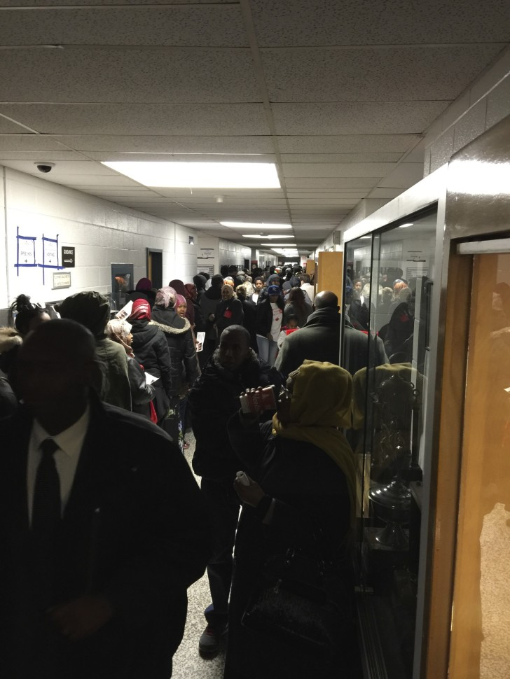 Voters line up in the halls.