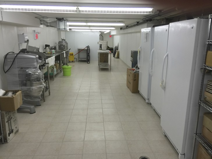 Food preparation and storage area in the basement.
