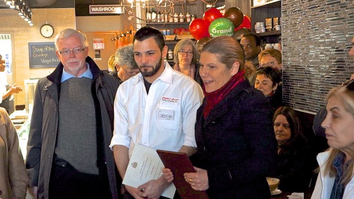 Mike Sullivan, Laura Albanese and Frances Nunziata congratulate George Kalamaris at the official opening of Perfect Blend Bakery.