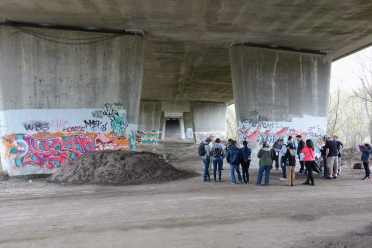 A view of the graffiti adorning the walls of the Eglinton bridge over the Humber.